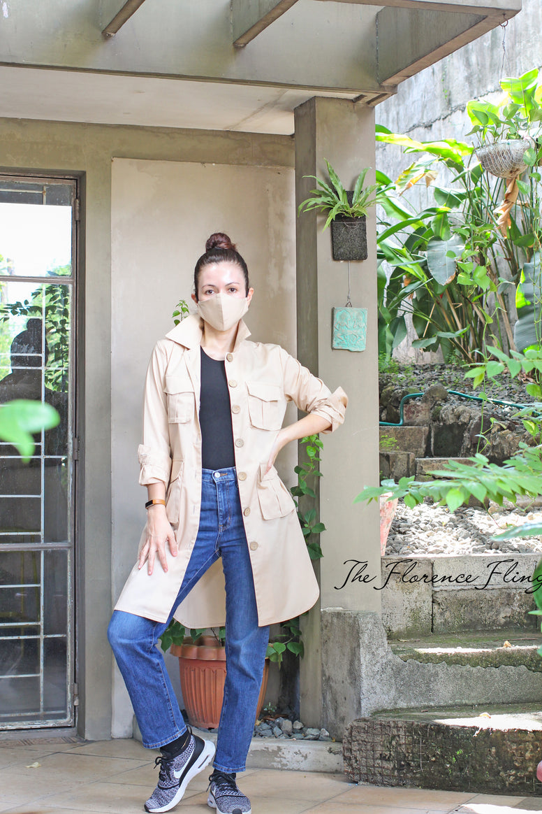 LAST FEW PCS Travel Shirtdress & Mask (TSM) in Khaki