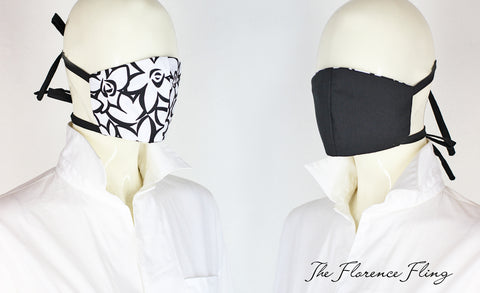 Reversible Face Mask in Black Set