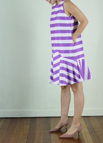 Cairo Shift Dress in Violet Stripes