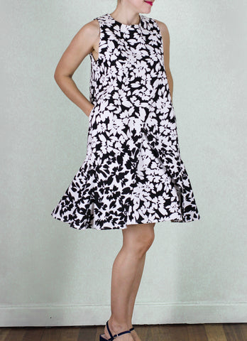 Cairo Shift Dress in B&W Floral