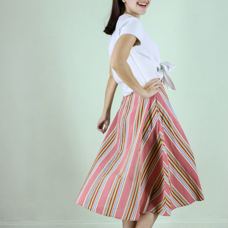 Kelly Skirt in Rainbow Stripes