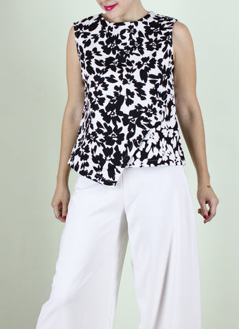 Lea Top in B&W Floral