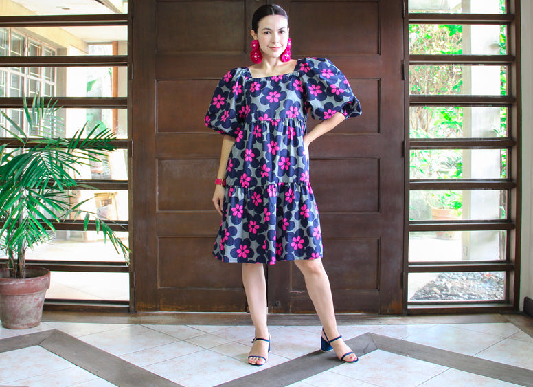 Meko Tiered Dress in Floral Pop