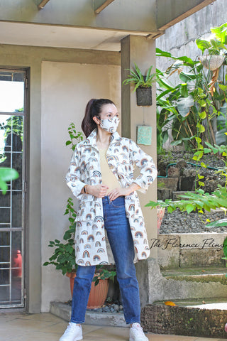 LAST PIECE Travel Shirtdress & Mask (TSM) in Happy Print