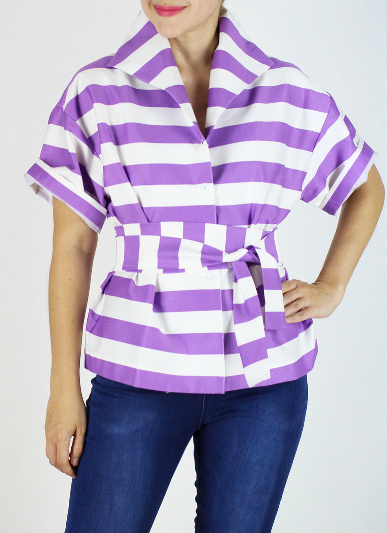 Sicily Top in Violet Stripes