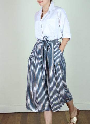 Keiko Cropped Pants in Metallic Stripes