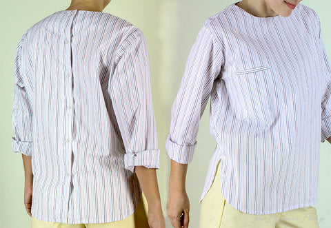 Stuart Back Button Top in Colored Stripes