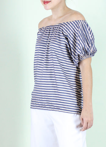 Wendy Off-Shoulder Top in Denim/Gold/White Stripes