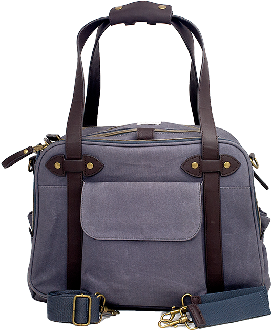 Special Edition Waxed Charcoal Charlie Diaper Bag w/ brown handles