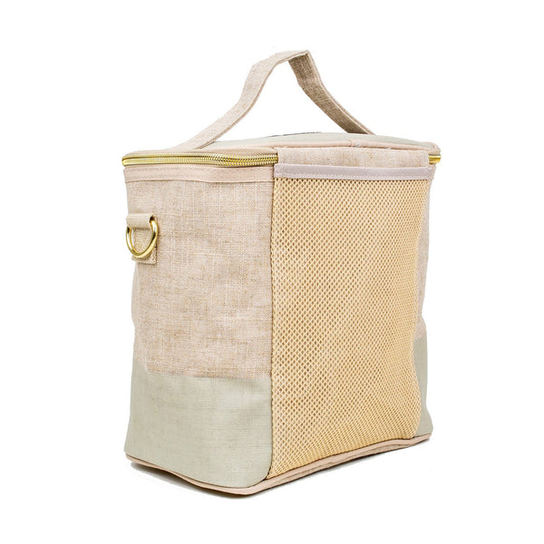 Linen - Cement Colour Block Lunch Poche