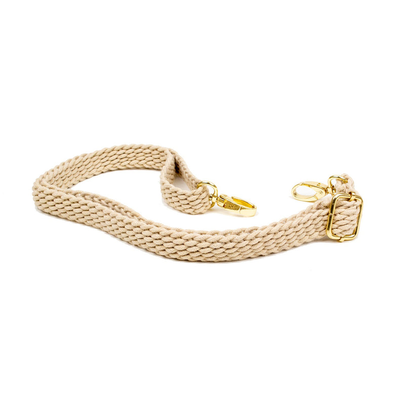 Modern Collection Braided Messenger Strap with Shiny Gold Hardware