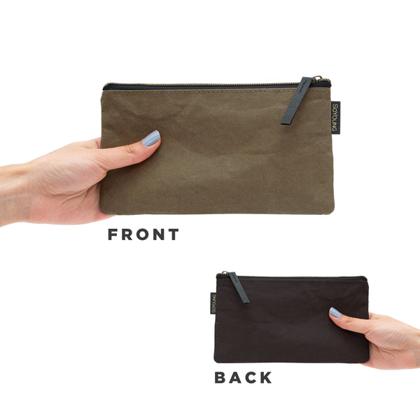 Essentials Pouch - Olive + Black Washable Paper