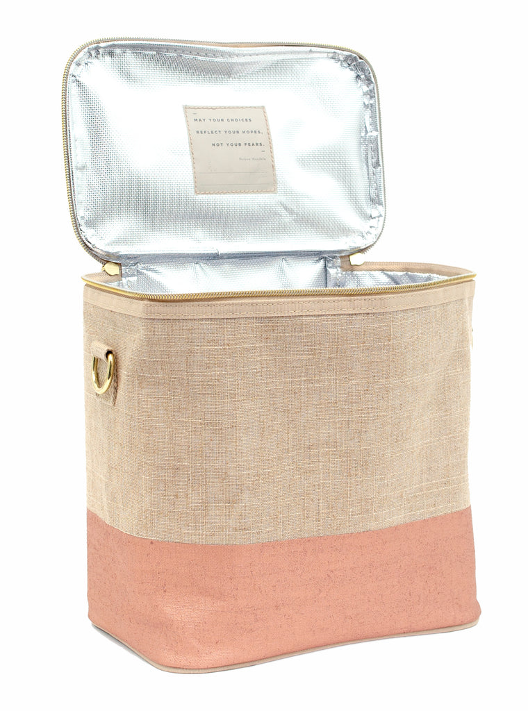 Linen - Rose Gold Colour Block Lunch Poche