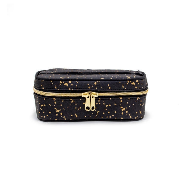 Black Paper - Gold Splatter Petite Beauty Poche