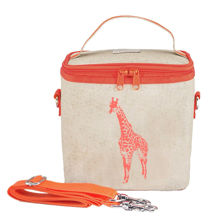 Neon Orange Giraffe Small Cooler Bag