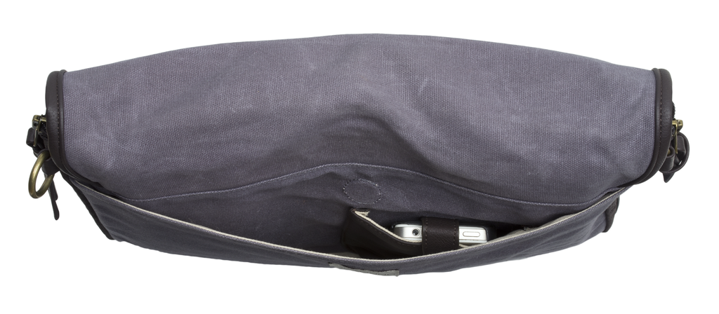 Black Sydney Messenger Diaper Bag in Waxed Canvas
