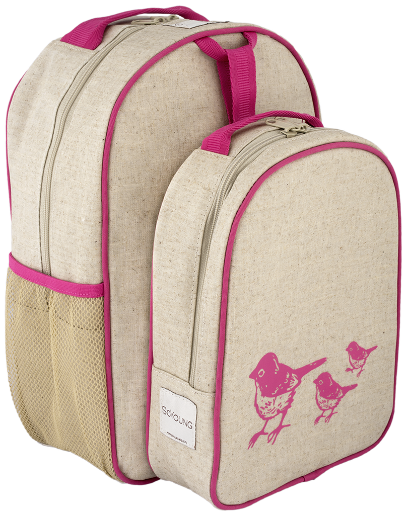 Pink Birds Matching Lunch Box to Toddler Backpack