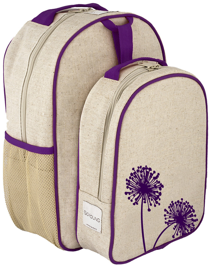 Purple Dandelion Matching Lunch Box to Toddler Backpack