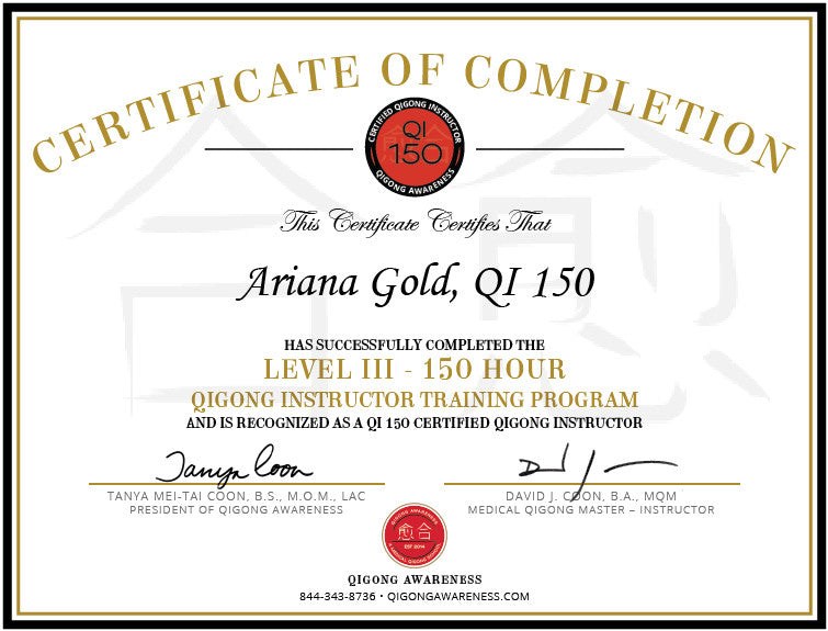 Level III - QI 150 - Certified Qigong Instructor