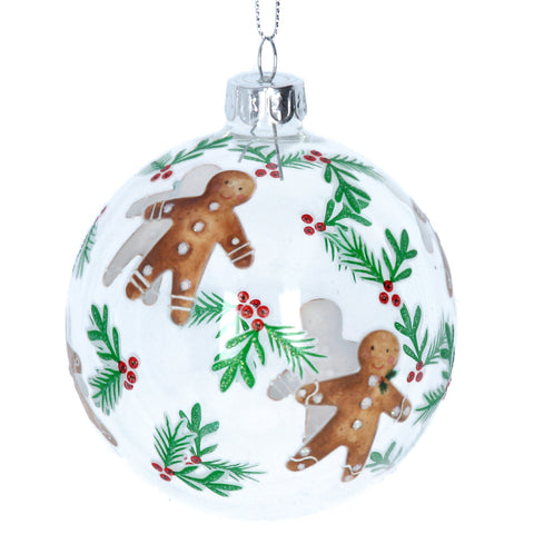 Clear Glass Bauble Featuring Painted Gingerbread Men