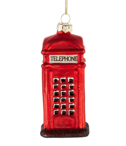 Painted Glass Telephone Box Christmas Decoration