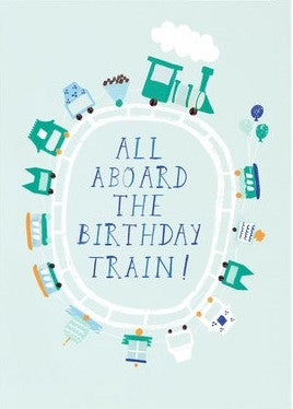 Mr Boddington All Aboard the Birthday Train Greetings Card