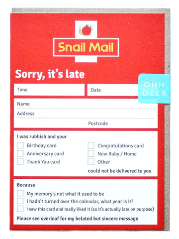 'Snail Mail' Greetings Card
