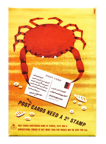 Crab with a Postcard Magnet