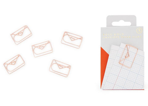 Rose Gold Envelope Paperclips