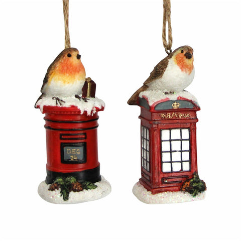 Robin on a Telephone/ Letter Box Decoration