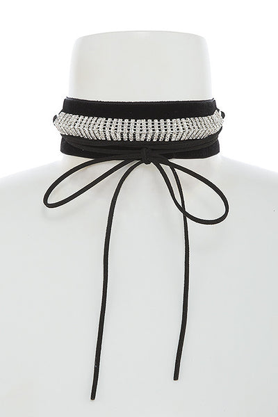 Black and Rhinestone Choker Necklace - Flutterby Jewelry and Accessories