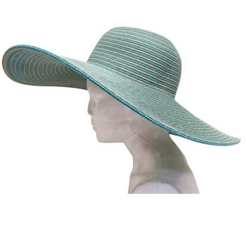 Wide Brim Striped Floppy Hat - Flutterby Jewelry and Accessories