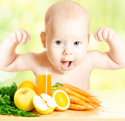 Healthy Kid felxing muscles
