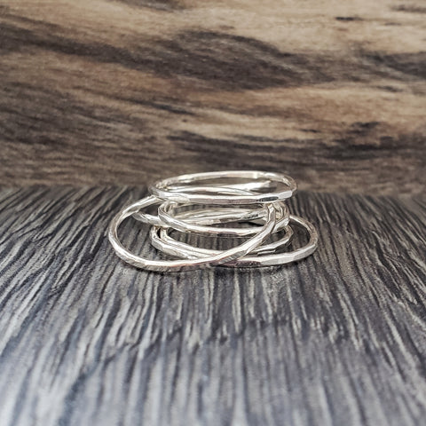 Sterling silver skinny stacking rings