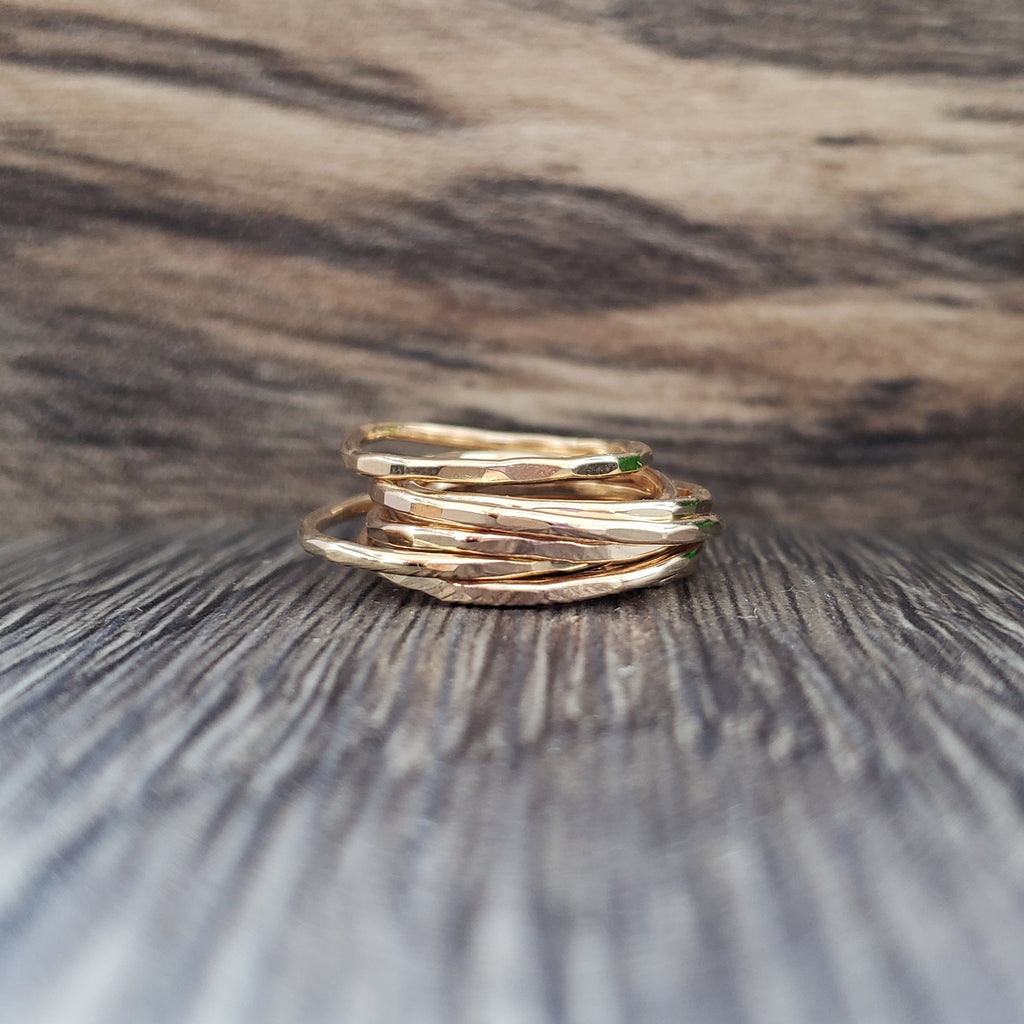 14k gold filled skinny stacking rings