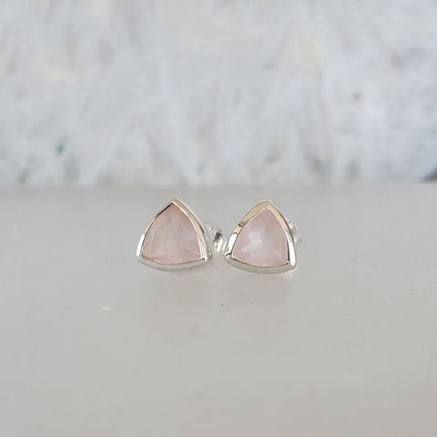 Sterling Silver Trillion Studs - Rose Quartz