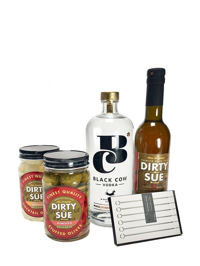 Black Cow Vodka Dirty Martini set