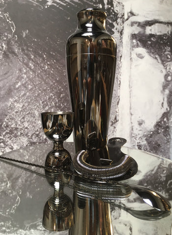 Luxe Gunmetal Barware Set