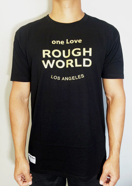 one Love ROUGH WORLD Black/Gold Crew Tees
