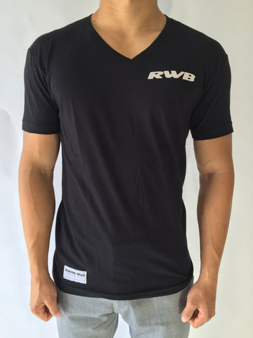 Black Regular V Neck Tees