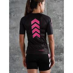 Coeur Zele Women's Aero Sleeved Triathlon Top - Pink and Black