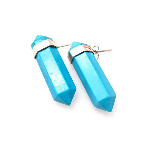Crystal Point Blue Howlite studs