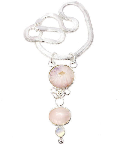Pink flower and quartz necklace