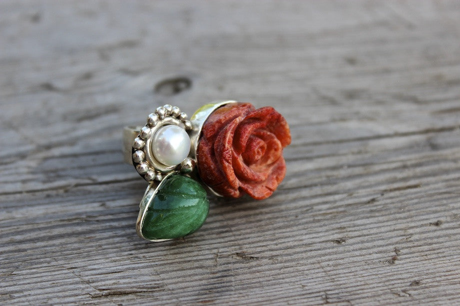 CORAL ROSE RING - ref.A4072