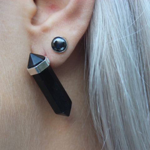 Crystal Point onyx studs