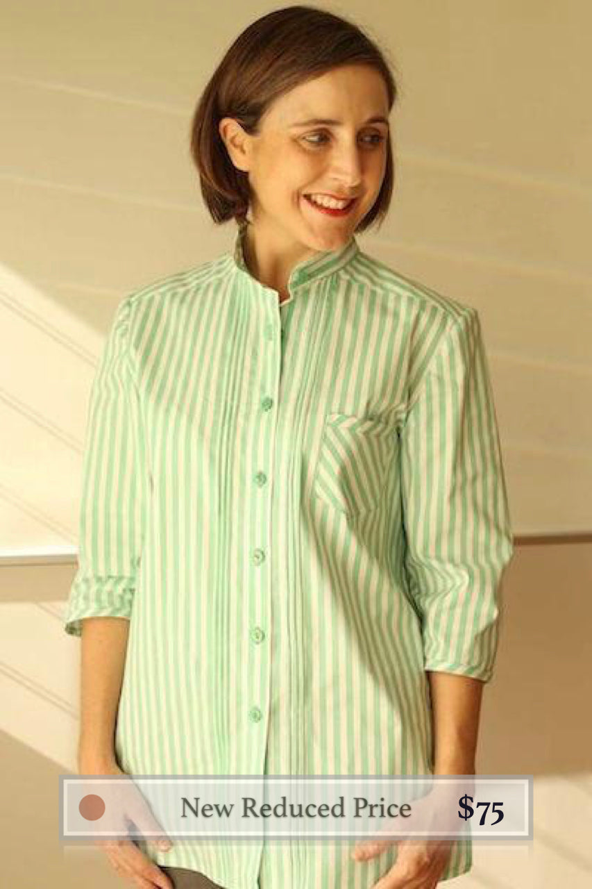 Theresa in Mint-White Stripe Cotton
