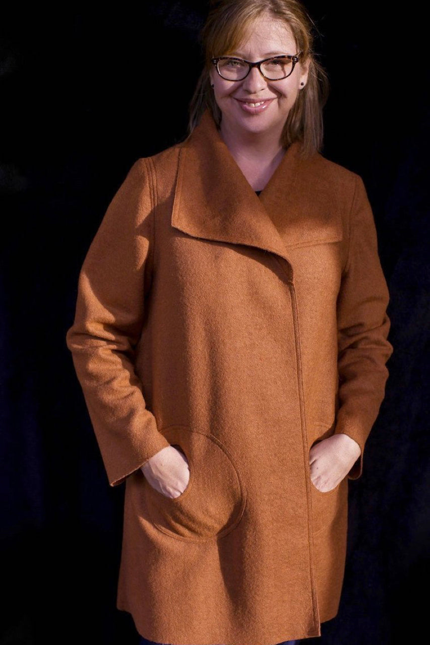 Swing Coat in Nutmeg Wool Blend