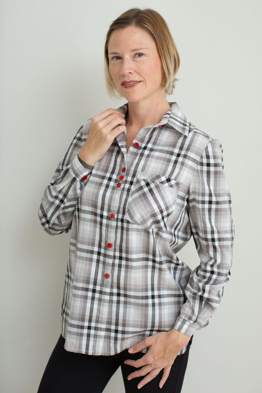 Charlotte in Grey Cotton Check