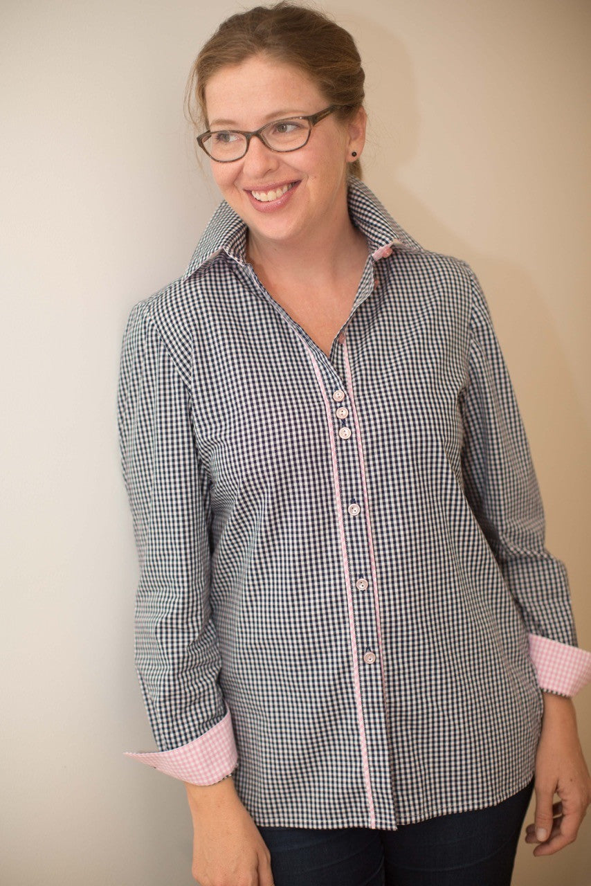 Georgie in Navy Cotton Gingham with Pink Trim