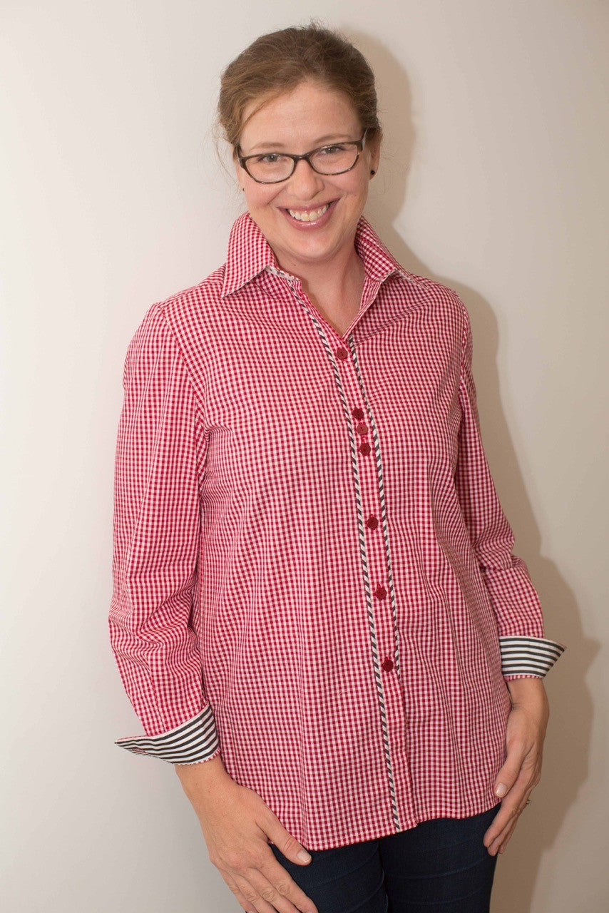 Georgie in Red Cotton Gingham with Black & White Trim